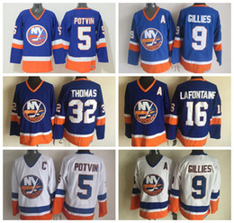 Wholesale Vintage Pat - Men New York Islanders Throwback Jersey 32 Steve Thomas 5 Denis Potvin 9 Clark Gillies 16 Pat LaFontaine Vintage Blue White Hockey Jerseys