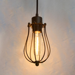 Wholesale Pendant Metal Shade - Vintage Light Bulb Retro Industrial 1 Light Metal Shade Ceiling Pendant Lamp Fixture Black With bulb