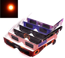 Wholesale American Solar Eclipse Glasses Multicolor Paper Frame Viewer Safe Glasses Protect Eyes to See Solar Eclipse