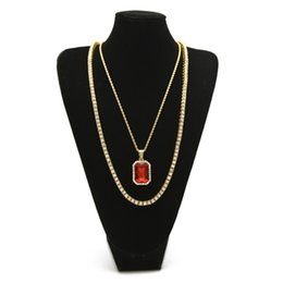 """Wholesale Pendant Set Ruby - Men Hip hop Necklace Set 1 Row 30"""" lced Out Rhinestone Chain With Square Ruby Blue Crystal Pendant Necklace Jewelry Set"""