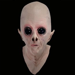 Wholesale Silicone Alien Mask - Wholesale- New Scary Silicone Face Mask Alien Ufo Extra Terrestrial Party ET Horror Rubber Latex Full Masks For Costume Party Cosplay