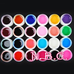 Wholesale Uv Gel Color Set 24 - Wholesale- New 24 Pots Pure Color Transparent UV Gel Nail Art Tips Nail Gel Manicure Pedicure set For nail salon