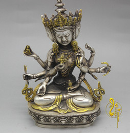 Wholesale Copper Furnishings - New on the shelves of white copper gilt Guanyin statue of the town house security Ping home furnishings