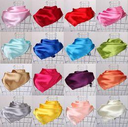 Wholesale Wholesale Neck Silk Scarves - 23 Colors Women Fashion Soft Silk Square Scarf Small Plain Neckerchief Head Neck Headband 60cm X 60cm
