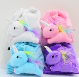 Wholesale Rainbow Plush - unicorn Drawstring bag cartoon plush unicorn coin bag kids Cute rainbow unicorn Drawstring coin bag Cosmetic bags KKA3106