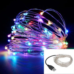 Wholesale Wedding Cards Wire - led string lights 10M 33ft 100led 5V USB powered outdoor Warm white RGB copper wire christmas festival wedding party decoration