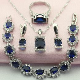 Wholesale Trendy Gold Jewellry - WPAITKY Trendy Blue Created Shappire 925 Sterling Silver Jewelry Set For Women Necklace Earrings Bracelet Ring Free Jewellry Box
