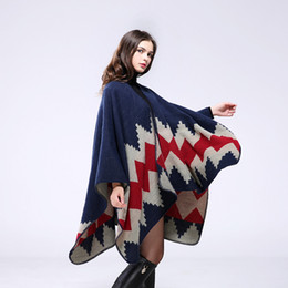 Wholesale Cashmere Ladies Scarfs Wholesale - Women Winter Cardigan Warm Poncho Vintage Rug Lady Multi-purpose Knit Scarf Cashmere Scarf Cape Poncho 130*155cm Cashmere