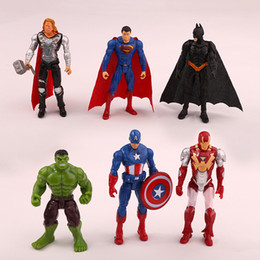 Wholesale Iron Man Baby - 6pcs Lot 9cm High Quality The Avengers PVC Captain America Superman Thor Iron man Action Figures For Baby Gift