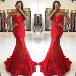 Wholesale Spaghetti Strap Red Carpet Dress - New Arrival 2017 Sweetheart Red Lace Evening Dresses Long Mermaid Spaghetti Straps Backless Prom Party Gowns for Holidays BA6685