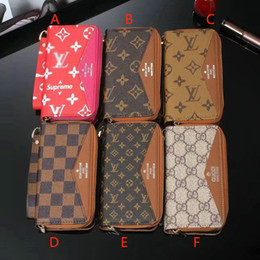 Wholesale Zipper Case For Mobile Phone - Luxury brand printing pattern wallet zipper leather mobile phone shell for iPhoneX 7 6 6Splus 8 8plus with card pocket mirror TPU cove