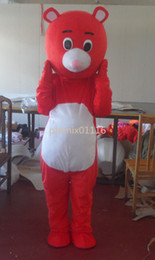Wholesale Movie Cartoon Mascot - Free Shipping red bear lovely Cartoon Character mascot costume fancy adult size Hot Movie Anime cosply Costumes Carnival Fancy Dress Kits