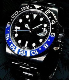 Wholesale Batman Tops - Christmas gift Top quality NEW mens watch wristwatch Black GMT Limited Edition Batman Blue 116710 PVD Ceramic Bezel Automatic Men's watches