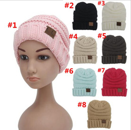 Wholesale Child Prints - 30 Pcs kids Winter Warm Hat Knitted CC Hat Label Children Simple Chunky Stretchable kids Knitted Beanies Baby Hat Beanie Skully Hats YYA275