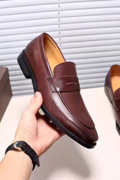 Wholesale Top Heels Fashion Designer - 2017 Luxury Fashion Designer Brand Dress Shoes Men's Genuine Leather Oxfords Top Quality Slip On Office Business Shoes Size 38-44