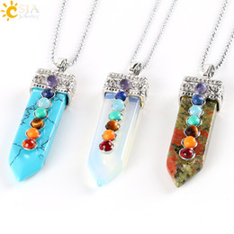 pendulum pendant bead Promo Codes - CSJA Natural Round Stone Beads 7 Chakra Pendant Necklace Sword Pendulum Charms Healing Yoga Jewellery Women Men Valentines Day Gift E332 B