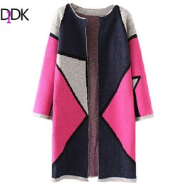 Wholesale Long Sleeve Collarless Coat - Wholesale- DIDK Fall Sweaters Long Cardigan Women Hot Pink Color Block Cardigan Coat Long Sleeve Collarless Long Cardigan
