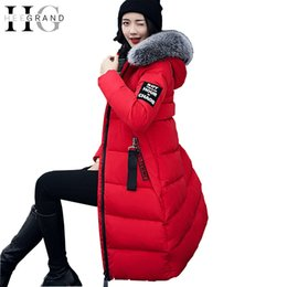 Wholesale Long Red Overcoat Down - HEE GRAND Winter Women Down Parkas Fur Collar Elegant Overcoat Long Snow Coat Warm Thickness Feathers Hooded Parka WWY379