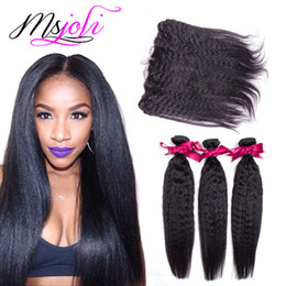 Wholesale Kinky Yaki Hair Weave - Human Hair Wefts with Closure 13x4 Frontal Ear To Ear Indian Natural Unprocessed Hair Kinky Straight Yaki Hair Weave 3 Bundles Frontal