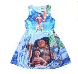 Wholesale Halloween Prince Costume - Girls Dress Summer Kids Clothing Ocean Dress Moana Dresses Infant Baby Girls Clothing Costume Children Party Princes Dress Free Shipping