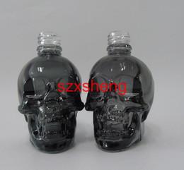 Wholesale Glass Essential Oil Containers - 1 Pcs start 30ml Skull Eco Vape E-cig Dropper Bottle translucent Black Glass e Liquid e juice bottles Refillable essential oil Container