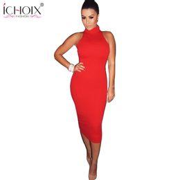 Wholesale Chiffon Turtleneck Dress - Wholesale- 2016 New Fashion Women Summer Dress Sleeveless Sexy Bandage Dress Red Turtleneck Party Dress Casual Pencil Dresses Vestidos