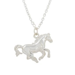Wholesale Stainless Steel Horse Jewelry - Silver Running Horse Necklace for Cowgirl Birthday Jewelry Gift Stainless Steel Pendant Necklace