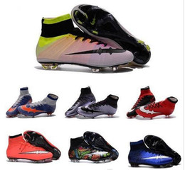 Wholesale Womens Rubber Ankle Boots - 100% Original MERCURIAL SUPERFLY FG AG High Ankle Top Laser Soccer Shoes Children Cleats Kids Boys Football Boots Womens Girls MAGISTA Mens