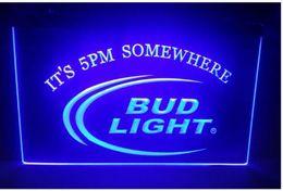 Wholesale Bud Sign Light - b08 Bud Light It's 5 pm Somewhere beer bar pub club 3d signs LED Neon Light Sign
