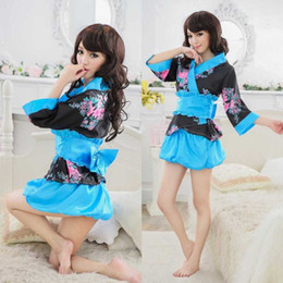 Wholesale Japanese Costumes Adult - Free shipping new sexy lingeriecosplay adult fun uniforms Japanese kimono lace sexy home service pajamas temptation ice silk skirt