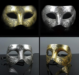 Wholesale Half Face Masks For Men - (500 pieces lot) New retro plastic Roman knight mask Men and women's masquerade ball masks Party favors Dress up