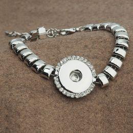 Wholesale Square Rhinestone Sliders - 18mm Metal Square Snap jewelry Button Cuff Bracelet Crystal Diamond Metal Interchangeable Jewelry Ginger Snaps Jewelry diy bracelet