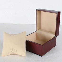 Wholesale Wholesale Wood Display Cases - Luxury red Fashion wood watch box with pillow package case wristwatches boxes Jewelry storage gift Display