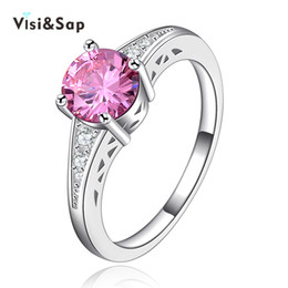 Wholesale Vintage Settings For Engagement Rings - Visisap White Gold color rings pink stone cubic zircon Vintage jewelry Rings for women engagement bijoux wedding gifts VSR126