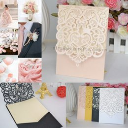 Wholesale Laser Cut Greeting Cards - Wholesale-laser cut wedding invitation pocket greeting cards wedding invitation pockets laser cut pocket fold invitations peach
