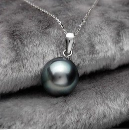 """Wholesale 14mm Pearls - NEW PRETY 14MM SOUTH SEA BLACK SHELL PEARL NECKLACE PENDANT JEWELRY 17"""""""