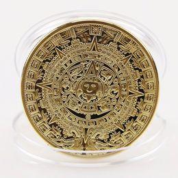 funghi artificiali all'ingrosso Sconti Wholesale- 1x Gold Sliver Plated Mayan Aztec Calendar Souvenir Commemorative Collezione di monete regalo