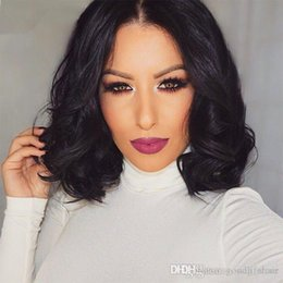 Wholesale Small Cap Wigs - Full Lace Wigs Brazilian Human Hair Wave Short Bob Lace Wigs Medium Size Cap With Baby Hair Fast Shipping