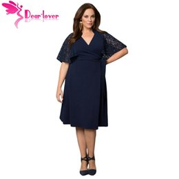 Wholesale Charming Hot Sexy Girls - Roupas Feminina Plus Size Woman Dresses Navy Charming Lace V-neck Big Girl Wrap Dress Vestido Casual Hot Sell LC61301 17410