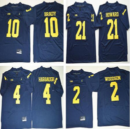 Wholesale Sport Toms - Stitched NCAA Michigan Wolverines 10 Tom Brady College Jerseys 2 Charles Woodson 4 Jim Harbaugh 5 Peppers 21 Howard Jersey Sport New