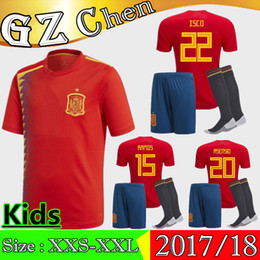 Wholesale Boys Kids T Shirts - Spain kit Soccer Jersey A.INIESTA ISCO kids kits Jerseys PIQUE A.INIESTA THIAGO MORATA SILVA kits T-Shirts 2018 World Cup ASENSIO Jersey
