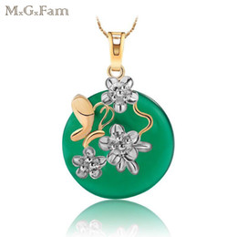 Wholesale Jade Pendant Singapore - MGFam (170P) Green Malaysian Jade Pendant Necklace Green Purple Red 18K + White Gold Plated with 45cm Chain Free Shippiing