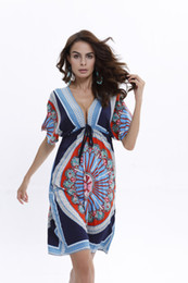Wholesale Milk Silk Dress - Women Plus Size V Sexy Soft Milk Silk Boho Print Midi Tribal Dresses 2017 Summer Ethnic Casual Loose Waist Beach Dress Beachwear