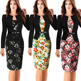 Wholesale Womens Dress Jacket Xl - Womens Elegant Long Sleeve Floral Printed Faux Jacket One-Piece Belted Patchwork Work Business Pencil Sheath Bodycon Dress