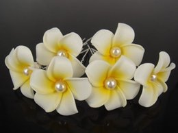 Wholesale prom hair pins - 30 Pcs White Hawaiian Plumeria Pearl Flower Foam Hair Clip Hair Pins Hair Accessory Wedding Prom For Girl Women