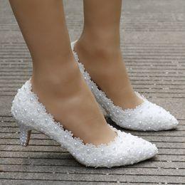 Wholesale Dress Princess Halloween Women - Women Shoes White Lace Wedding Shoes 5CM High Heels Shoes White Lace Sweet Pumps Princess Party Heels
