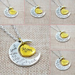 "Wholesale Pieces For Mom - ""I Love You To The Moon And Back"" Two-Piece Heart Crescent Family Charm Pendant Necklace Great Christmas Gift For Miss Mom Sister"