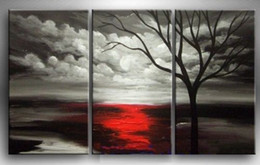 Wholesale Large Hand Painted Canvas Art - 3PCS Framed Black white background red tree,Hand Psainted LARGE MODERN ABSTRACT WALL Art oil Painting Canvas Multi sizes Free Shipping 3P009