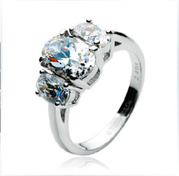 Wholesale Diamond Semi Mount Stone - Total 2.41 ct Luxury three Stones semi mount ring synthetic diamond wedding ring 18K white gold plated settings engagement ring