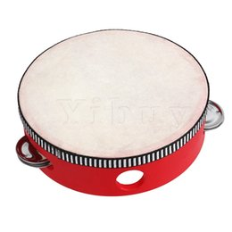 "Wholesale Wholesale Wooden Toy Kits - Wholesale- Yibuy 6"" Traditional Wooden Natural Skinned Tambourine Musical Toy Instrument For Kids"